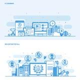 Vlak het concepten e-Leert en Onderwijs van de lijnkleur voor allen royalty-vrije illustratie
