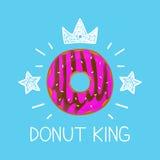 Vlak het conceptenbeeldverhaal van de koningsdoughnut en krabbelillustratie Kroon en sterren Royalty-vrije Stock Foto's