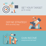 Vlak het doel infographic concept stijl van de bedrijfssuccesstrategie Stock Foto