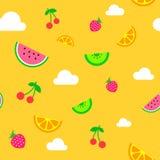 Vlak het fruit naadloos patroon van de kunst eenvoudig geel zomer stock illustratie
