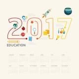 Vlak het Onderwijs 2017 concept van lijninfographic Vector illustratie Royalty-vrije Stock Foto