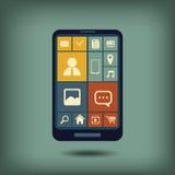 Vlak het ontwerp grafisch gebruikersinterface van Smartphone Stock Foto's
