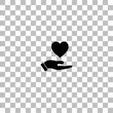 Vlak het ontwerppictogram van de handenliefde vector illustratie