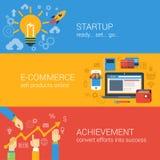 Vlak het opstarten van bedrijven infographic concept van de stijlelektronische handel Stock Foto's