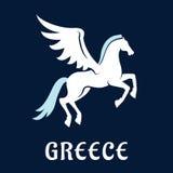 Vlak het paardpictogram van Griekenland Pegasus Stock Fotografie