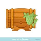 Vlak houten vat met hop Royalty-vrije Stock Afbeeldingen
