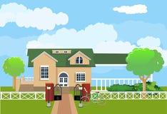 Vlak huis en tuin, Royalty-vrije Stock Foto