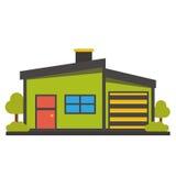 Vlak huispictogram stock afbeeldingen