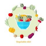 Vlak illustratie plantaardig dieet Schotel met verschillende groenten en anderen rond geïsoleerd Stock Foto