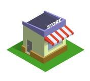 Vlak isometrisch opslagembleem, het online winkelen en het Webmarkt van het elektronische handelconcept Royalty-vrije Stock Foto