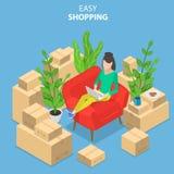 Vlak isometrisch vectorconcept het gemakkelijke winkelen, e-commerce, online opslag stock illustratie