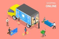 Vlak isometrisch vectorconcept het gemakkelijke winkelen, e-commerce, online opslag royalty-vrije illustratie