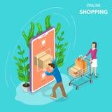 Vlak isometrisch vectorconcept het mobiele winkelen, e-commerce, online opslag royalty-vrije illustratie