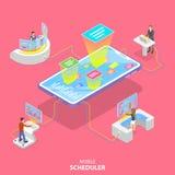 Vlak isometrisch vectorconcept mobiele planner, bedrijfs planning stock illustratie