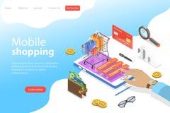 Vlak isometrisch vectorlandingspaginamalplaatje van het mobiele winkelen, e-commerce vector illustratie