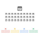 Vlak kalenderpictogram Stock Fotografie