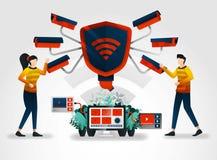 vlak karakter de veiligheidscamera's nemen maximumzorg in inspanning om gegevensbeveiliging te beschermen de veiligheidsindustrie royalty-vrije illustratie