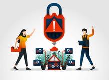vlak karakter het waarschuwingssysteem alarmeert ontwikkelaars aan veiligheidsbedreigingen veiligheidsbedrijf opgestelde technici stock illustratie