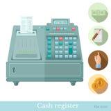 Vlak kasregister met van de het bankbiljethand van cirkelpictogrammen de nota van het de wijzermuntstuk Stock Afbeelding