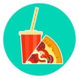 Vlak kleurrijk mooi snel voedselpaar - kola en pizza vector illustratie