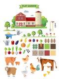 Vlak landbouwbedrijf met boerderij Stock Fotografie