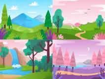Vlak Landschap De aard van het de zomergebied, bosfauna en watervallandschappen Bergen en bewolkte hemel vectorachtergrond royalty-vrije illustratie
