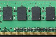 Vlak leg grafisch stillevenclose-up van van het de computergeheugen van DIMM RAM de spaandermodule Horizontaal beeld als achtergr stock afbeelding