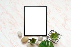 Vlak leg marmeren bureau met wit leeg kader voor tekst, stenen en succulents achtergrond Royalty-vrije Stock Afbeeldingen