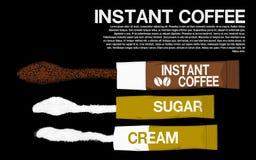 Vlak leg onmiddellijke koffiepakket vector illustratie