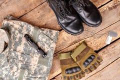 Vlak leg, reeks van militaire camouflageuitrusting Royalty-vrije Stock Foto