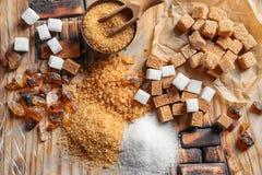 Vlak leg samenstelling met verschillende types van suiker Royalty-vrije Stock Afbeelding