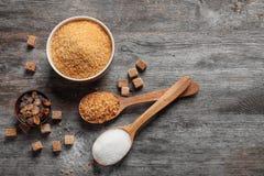 Vlak leg samenstelling met verschillende types van suiker Royalty-vrije Stock Foto