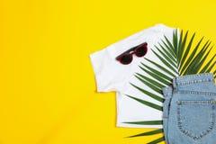 Vlak leg samenstelling met: vrouwenkleren en toebehoren, palmblad op gele achtergrond royalty-vrije stock foto's