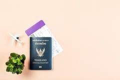 Vlak leg van het officiële paspoort van Thailand, instapkaart, kleine cactus Stock Fotografie