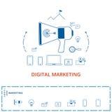 Vlak lijnontwerp digitaal marketing concept Megafoon met digitale marketing technologie, analytics die, sociale media pictogramme Royalty-vrije Stock Fotografie