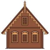 Vlak lineair huis vooraanzicht Stock Foto's