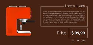 Vlak Minimalistisch Malplaatje bedrijfsontwerp Rode koffiemachine Stock Afbeeldingen