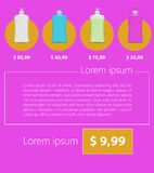 Vlak Minimalistisch Malplaatje bedrijfsontwerp Vloeibare zeep en bloemen Royalty-vrije Stock Foto
