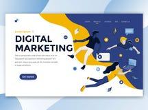 Vlak Modern ontwerp van wesitemalplaatje - Digitale Marketing stock illustratie