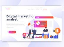 Vlak Modern ontwerp van wesitemalplaatje - Digitale Marketing analys stock illustratie