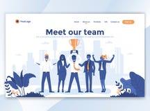 Vlak Modern ontwerp van wesitemalplaatje - ontmoet ons team royalty-vrije illustratie