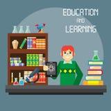 Vlak modieus ontwerp voor bedrijfsonderwijsconcept en studentenkarakter Stock Afbeelding