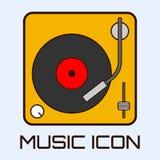 Vlak muzikaal pictogram van vinyldek vector illustratie