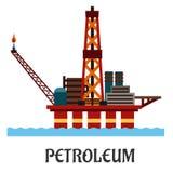 Vlak olie zeeplatform in de oceaan Stock Afbeelding