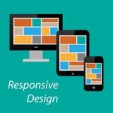Vlak ontvankelijk ontwerp van computer, tabletpc en slimme telefoon Royalty-vrije Stock Afbeeldingen