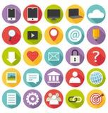 Vlak ontwerp. Bureau en bedrijfspictogrammen voor Web en Stock Afbeelding