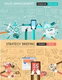 Vlak ontwerp en hand getrokken concepten voor bedrijfssucces Stock Fotografie
