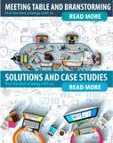 Vlak ontwerp en hand getrokken concepten voor bedrijfssucces Stock Afbeeldingen