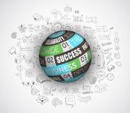 Vlak ontwerp en hand getrokken concepten voor bedrijfssucces, financiën Stock Foto