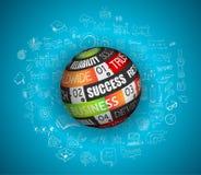 Vlak ontwerp en hand getrokken concepten voor bedrijfssucces, financiën Stock Afbeeldingen